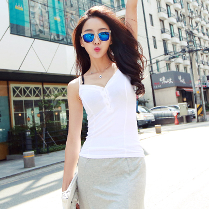 Sexy stretch condole belt vest v-neck New Summer Solid Sleeveless New Summer Spring women vest basic Casual Tee Shirt Femme T
