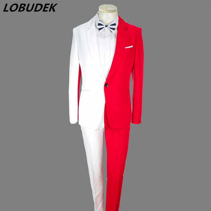 2019 Red White Splicing Men's Suits Jacket Trousers 2 Pieces Set Nightclub Magician Clown Performance Costume Host Stage Outfit