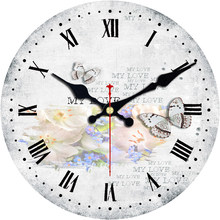 Vintage Butterfly Clock Brief Design Silent Home Cafe Office Study Wall Decor Clock for Kitchen Wall Large Wall Clock No Ticking(China)
