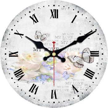 W stylu Vintage motyl zegar krótki projekt cichy Home Cafe biuro badania ściany zegar dekoracyjny do kuchni ścienne duży zegar ścienny bez materacy
