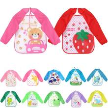Baby Boys Girl Bibs Infant Cartoon Printed Long Sleeve Waterproof Coverall Baby Toddler Scarf Baby Feeding Accessories(China)