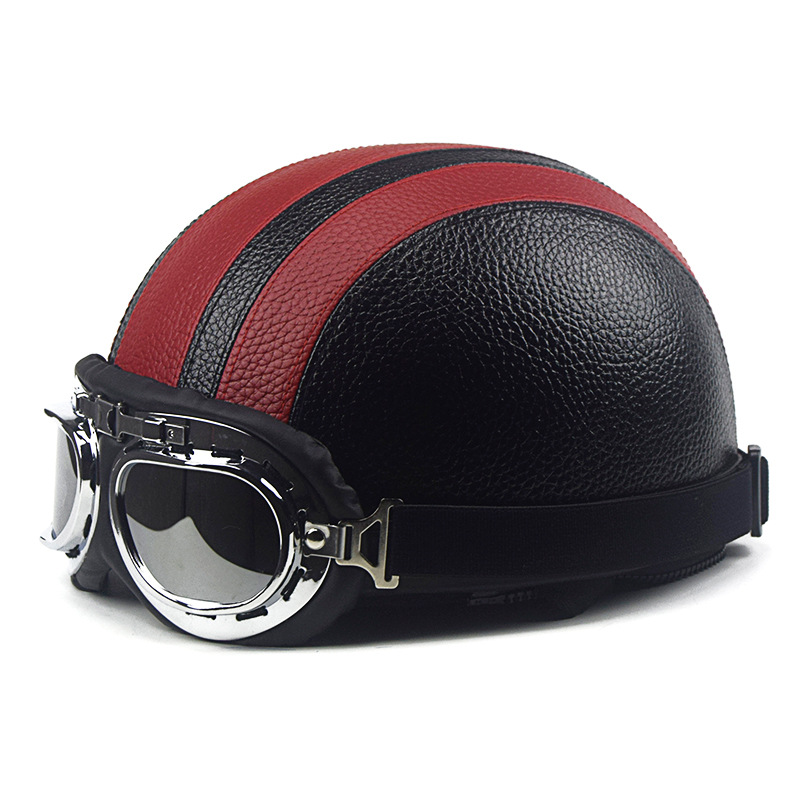 S2R Retro Motorcycle Helmet Synthetic Leather Open Face Detachable Helmets With Visor Goggles Adjustable Halley coloured helmet