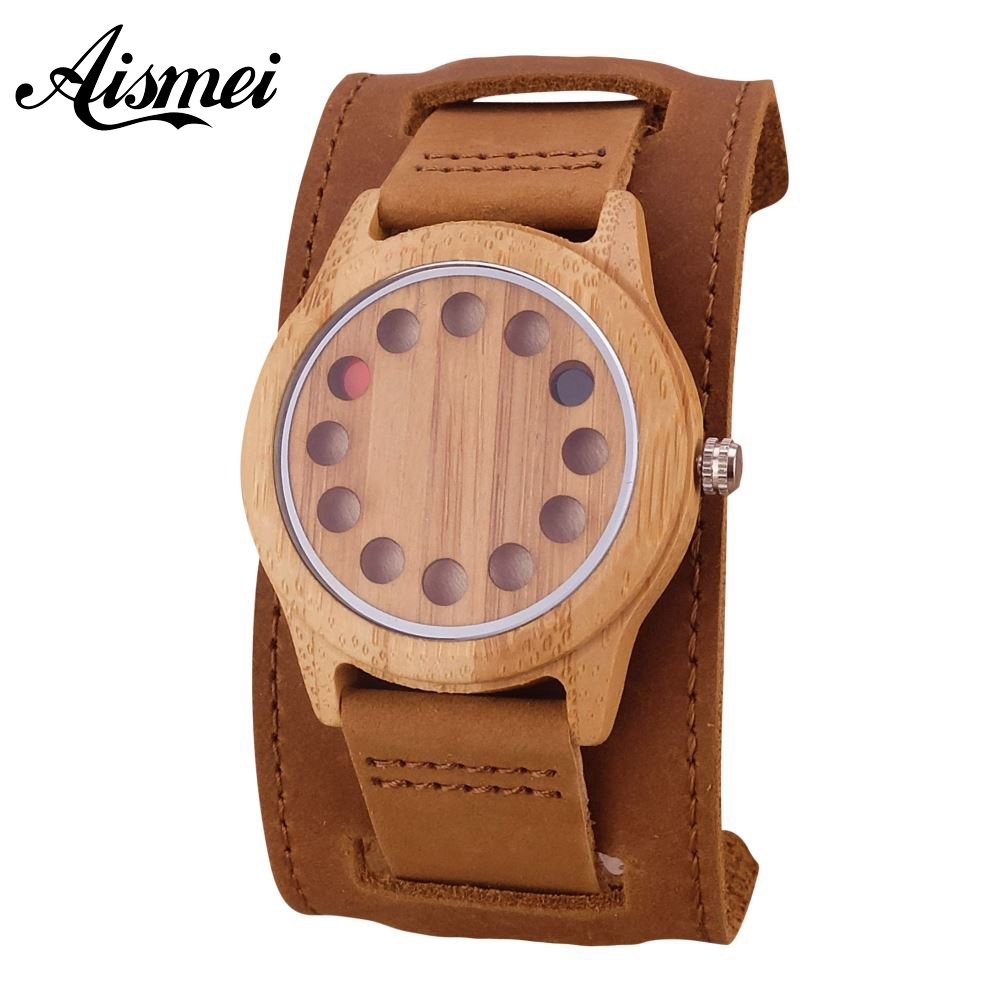 Punk style Mens Watches Top Brand Luxury Antique Bamboo Wooden 12 Holes Quartz Watches With big Real Leather Straps naturally retro style minimalism luxury simplicity walnut wooden watches men with wood bamboo straps famous brand mens watches