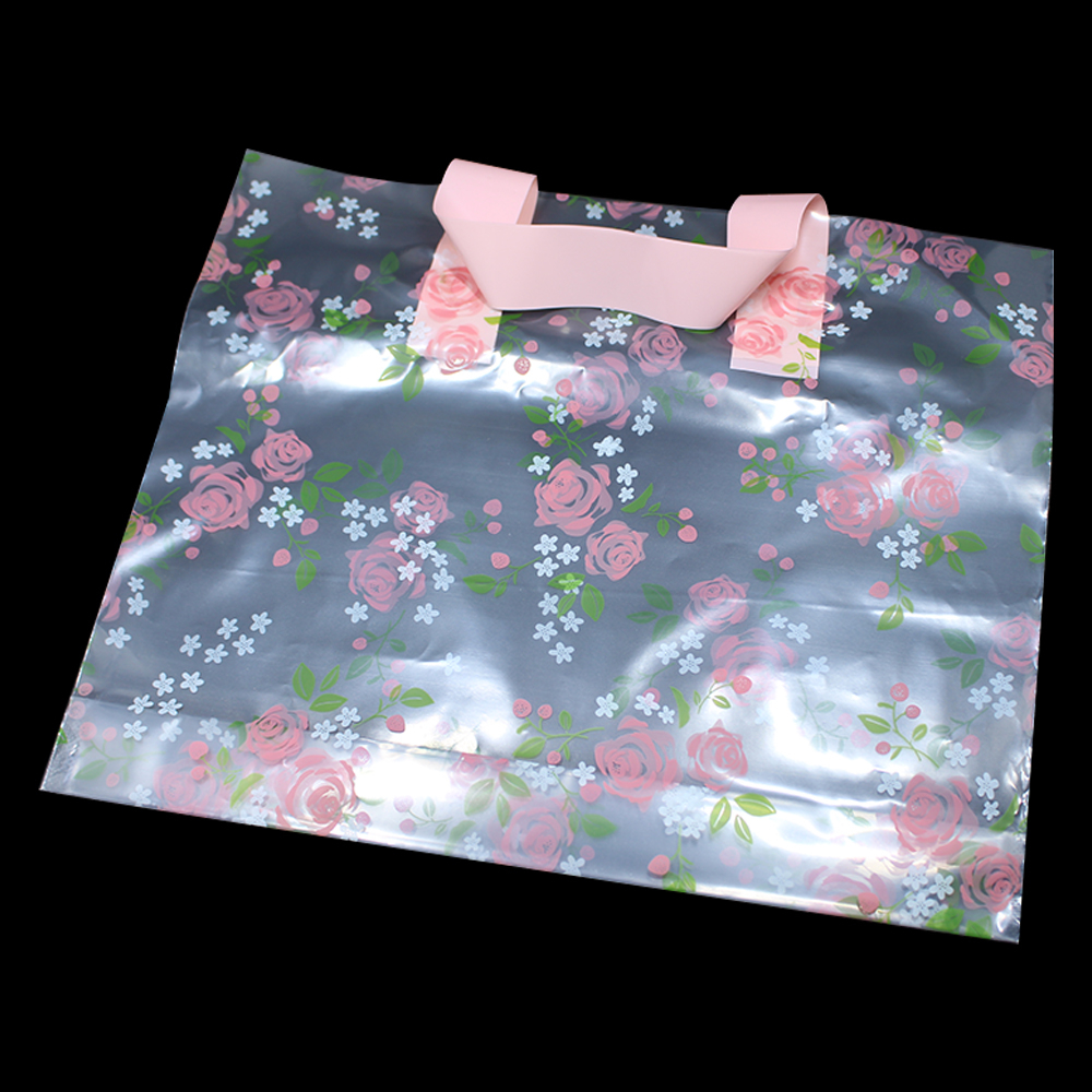 DHL 200pcs/lot Transparent Plastic Shopping Bags with Handle Floral Rose Print Gift Clothes Retail Packing Large Clear Wholesale