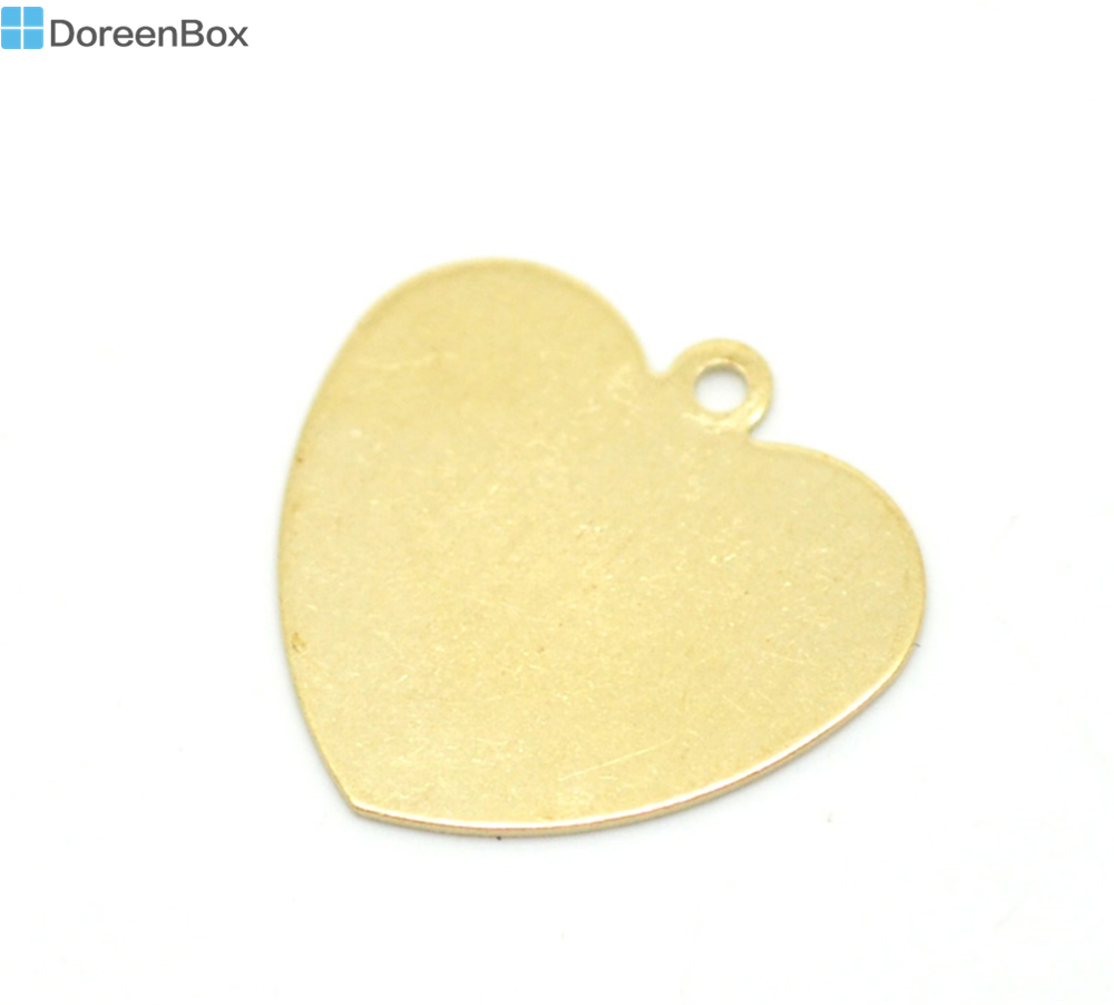 Doreen Box Lovely 50PCs Brass Blank Stamping Tags Love Heart for Necklaces,Earrings,Bracelets etc.18x18mm (B18576)