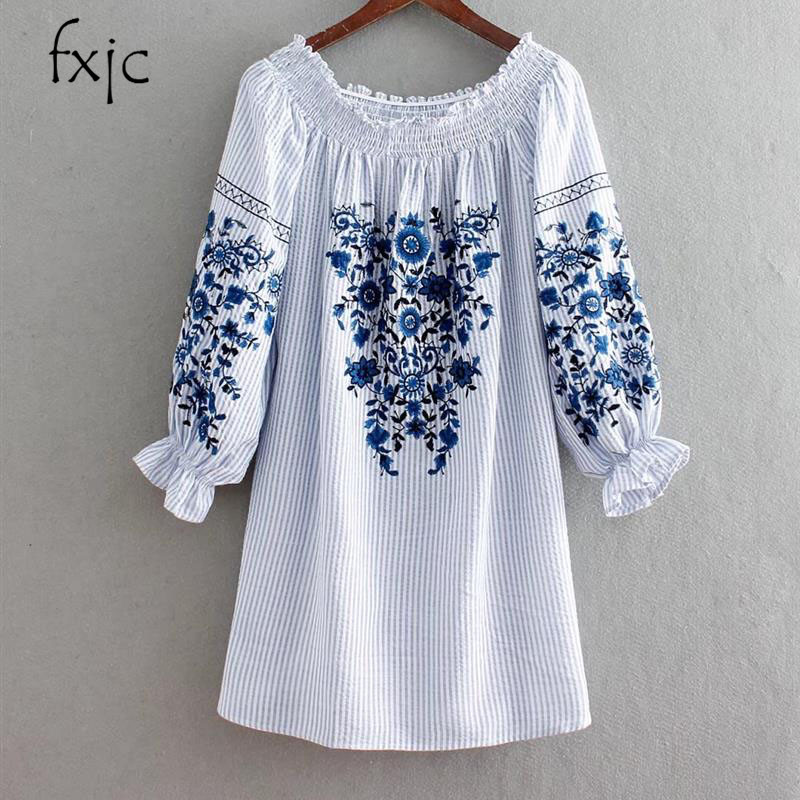 2018 summer new female loose long-sleeved strapless collar embroidered striped dress female