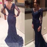 In Stock Fast Shipping Dark Navy Blue LOng Sleeves Women Evening Dresses Lace Mermaid Real Photos V Back Court Train Prom Dress