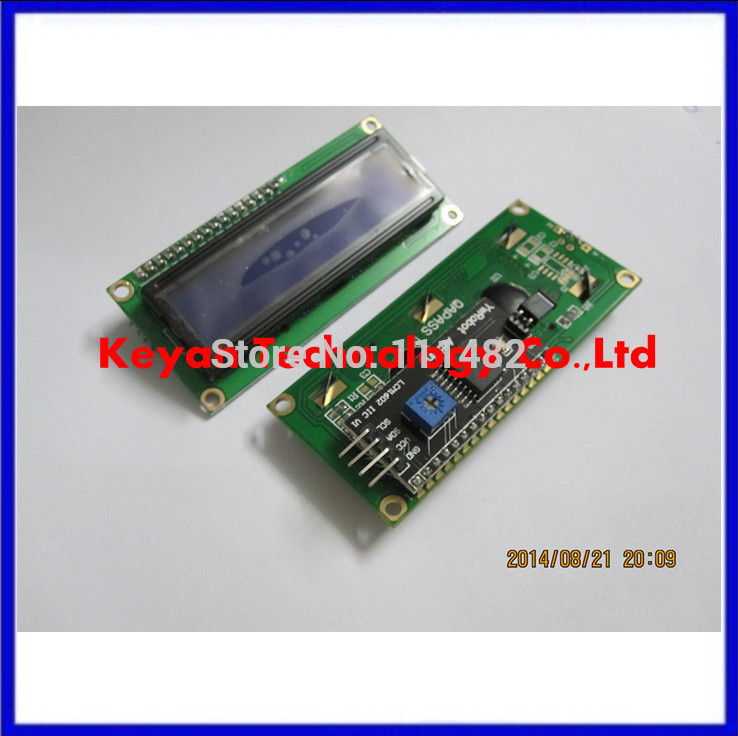 Free Shipping 1 set IIC/I2C + LCD 1602 Blue Backlight LCD Display Adapter Plate Integrated Circuits