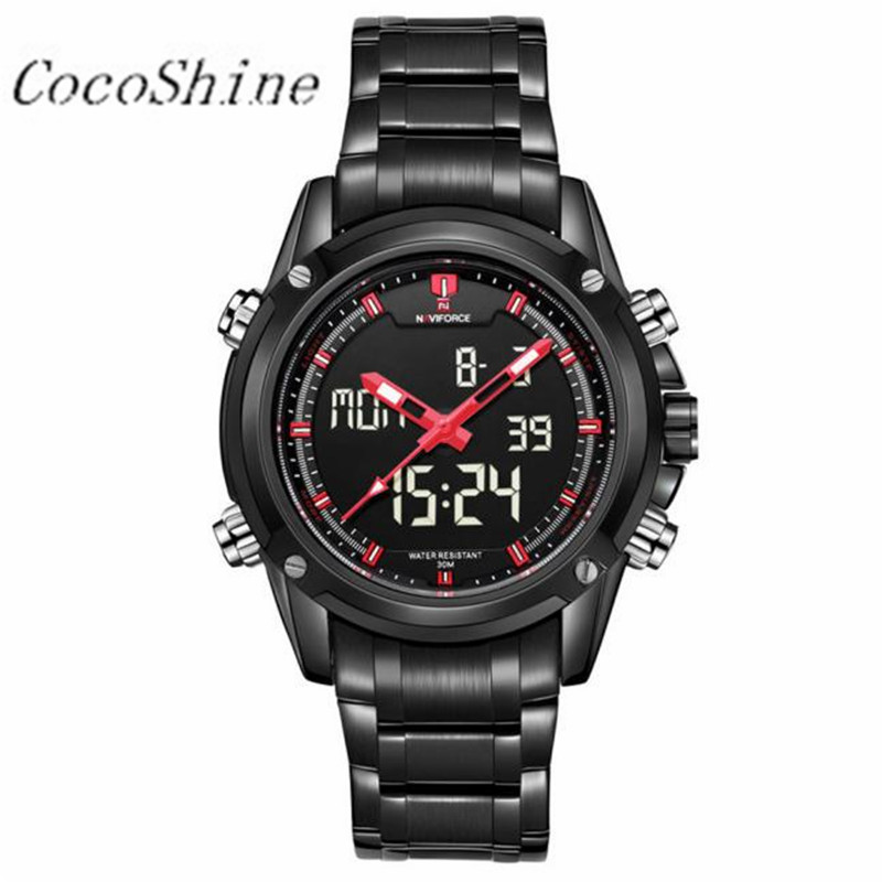 CocoShine A-918 Luxury Military Sports Men's Dual-display Multi-function Stainless Steel Mens Watches wholesale Free shipping mance mens watches top brand luxury quality military sports men s dual display multi function stainless steel mens watches