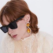 new arrival trendy teardrop crystal earrings for women personality white geometric statement hyperbole jewelry gifts