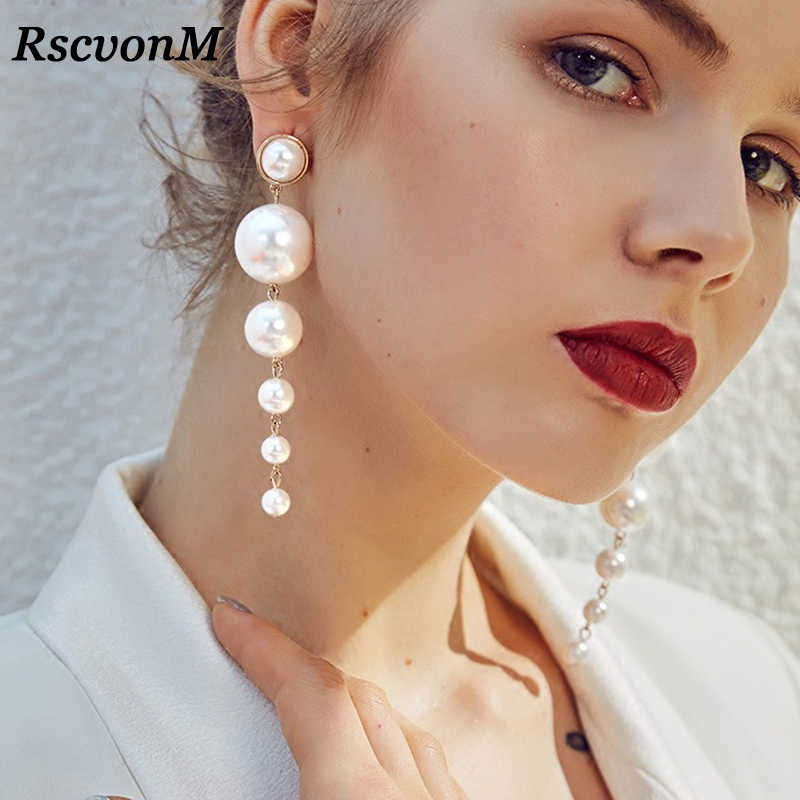 RscvonM Trendy Elegant Created Big Simulated Pearl Long Earrings Pearls String Statement Dangle Earrings For Wedding Party Gift