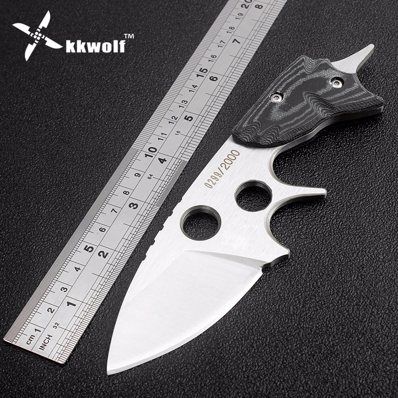 KKWOLF Germany Hunting knife SAR Handmade Fixed knife D2 camping survival pocket knives Mikata handle rescue EDC tool Leather round handmade wallet semi cirle knife handmade leather diy tool