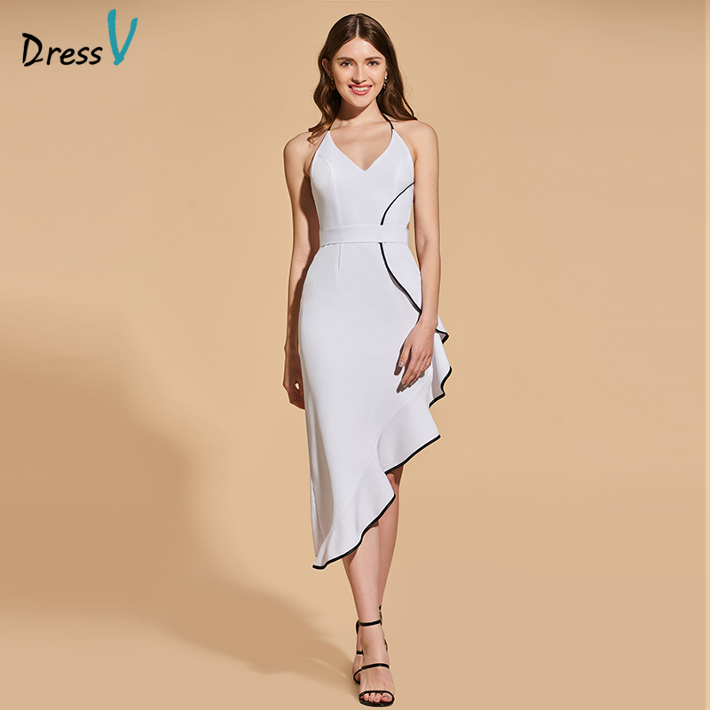 Dressv   cocktail     dress   elegant halter neck backless sheath ruffles asymmetry wedding party formal   dress     cocktail     dresses