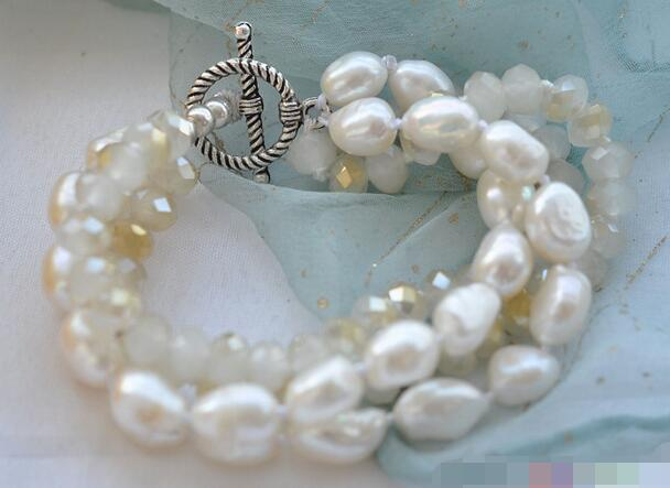Hot sell >@@ 3729 4row 8 white baroque pearl faceted crystal bead bracelet Top quality free shipping