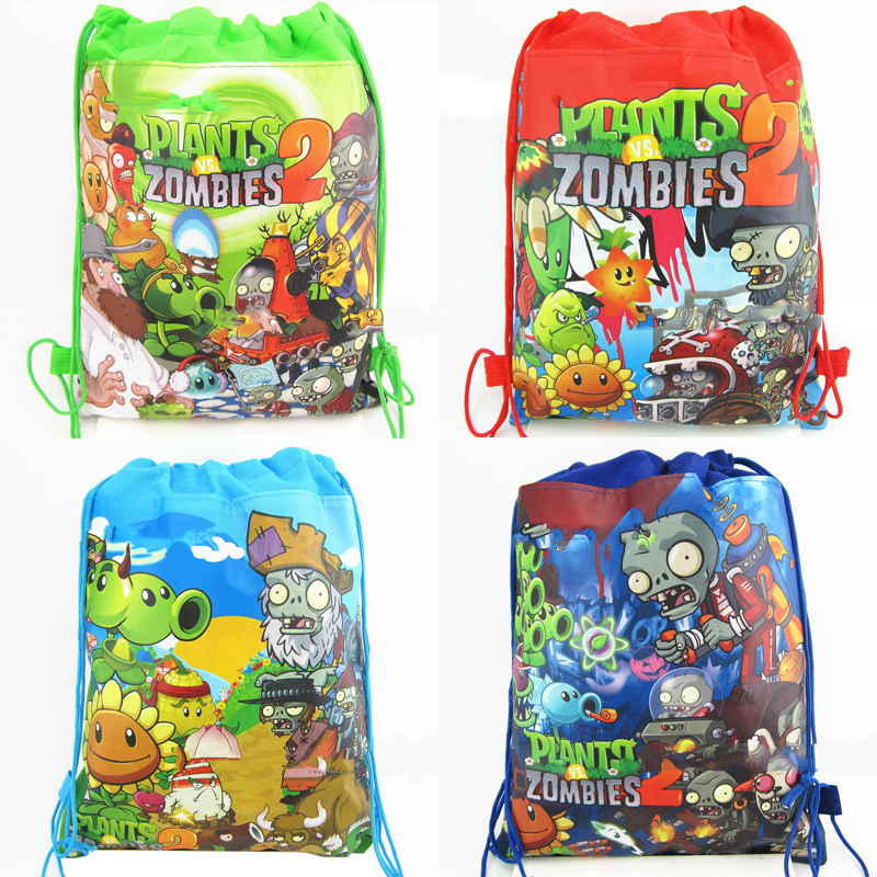 Happy Birthday Party Decorate Mochila Kids Boys Favors Non-woven Fabric Plants Vs Zombies Design Drawstring Gifts Bags 1PCS/LOT