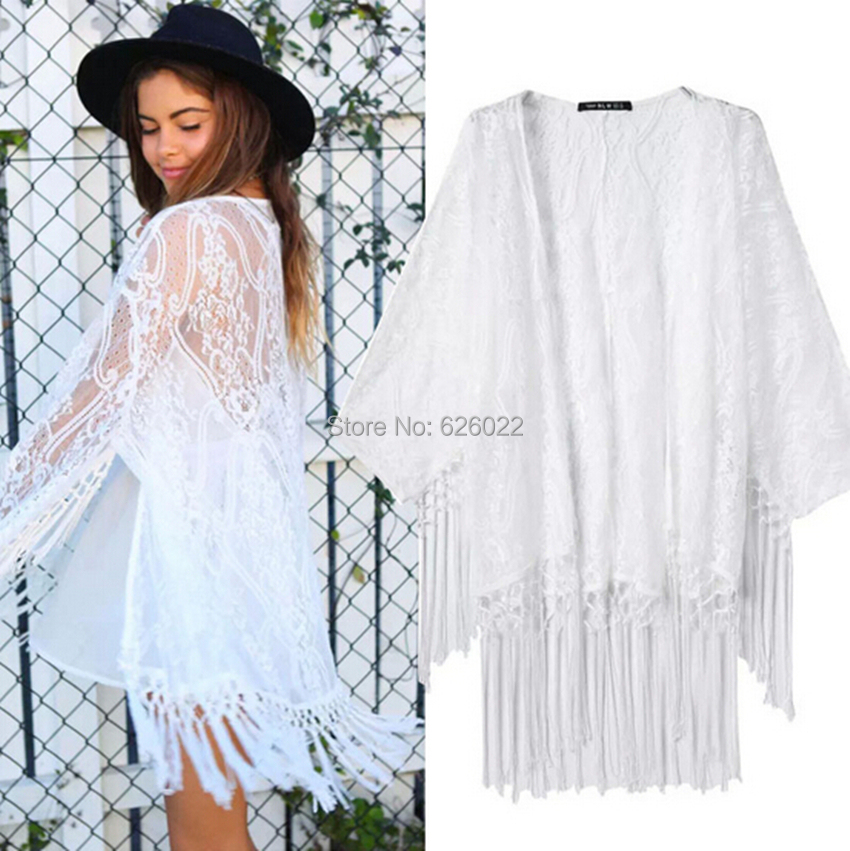 2015 New Women's White Lace Crochet Embroidered Loose Kimono ...