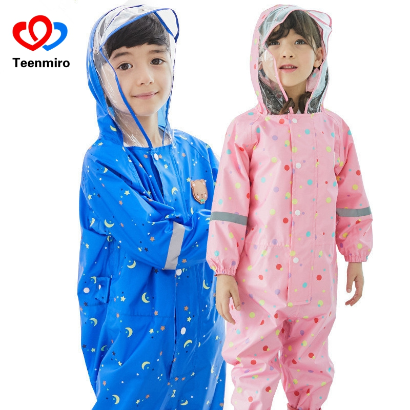 Rain Kids Jacket Rainsuit Children Impermeable Raincoat Boys Girls Rainwear Overalls Child Outerwear Snowsuit Waterproof