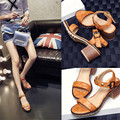 2016 new Soft Leather summer high heels rivets sandals Solid Pumps Embossed Leather square heel buckle shoes Large size shoes