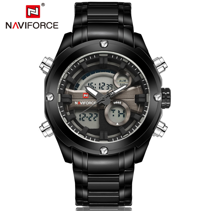 2017 NAVIFORCE Watches Men Fashion Sports Luxury Brand Men's Quartz Watch Full Steel LED Digital Wristwatch Relogio Masculino new listing men watch luxury brand watches quartz clock fashion leather belts watch cheap sports wristwatch relogio male gift