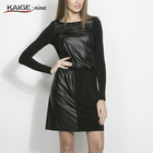Save 16.72 on Kaige.Nina New Women's Vestidos Casual Patchwork Style Long Sleeves O-Neck No Adornment Straight Knee-length Summer Dress 1613