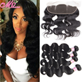 Mink Pre Plucked Frontal With Bundles Brazilian Body Wave With Lace Frontal Closure Queen Hair Products With Closure Bundles