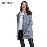Jinhan 2017 color sólido Chaquetas puntada del invierno con bolsillos mujeres abrigo caliente linterna manga tejida Suéteres jhs823