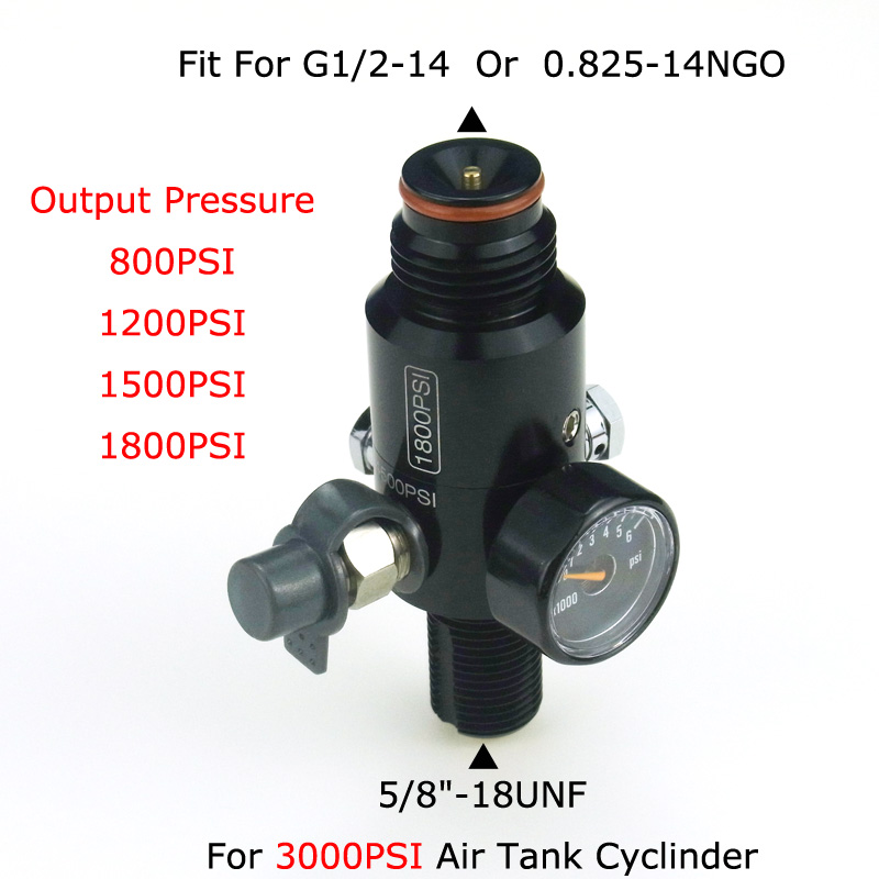"New Paintball Air Gun Airsoft PCP 3000PSI HPA Tank Regulator Valve Output Pressure 800/1000/1200/1800PSI 5/8""-18UNF Threads"