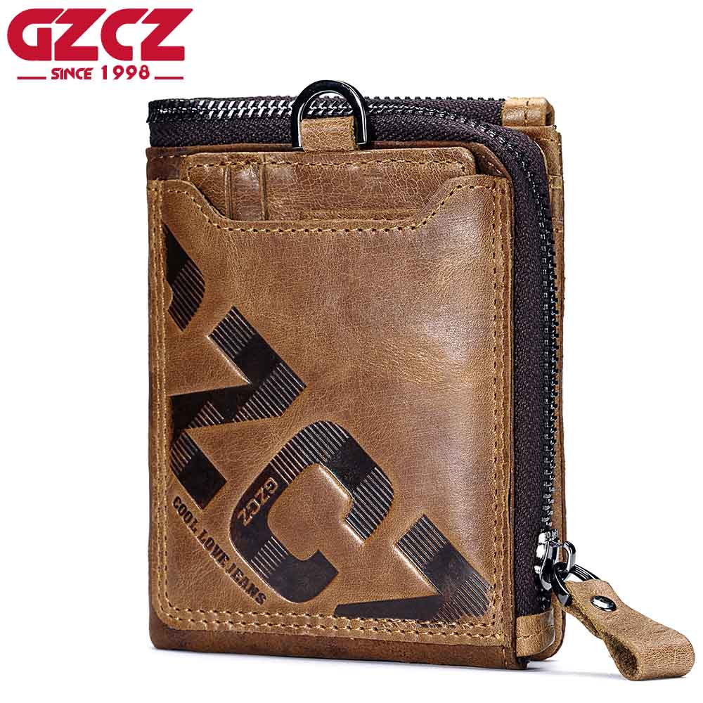 GZCZ Genuine Leather Men Wallet Fashion Coin Purse Card Holder Small Wallet Men Portomonee Male Clutch Zipper Clamp For Money leather