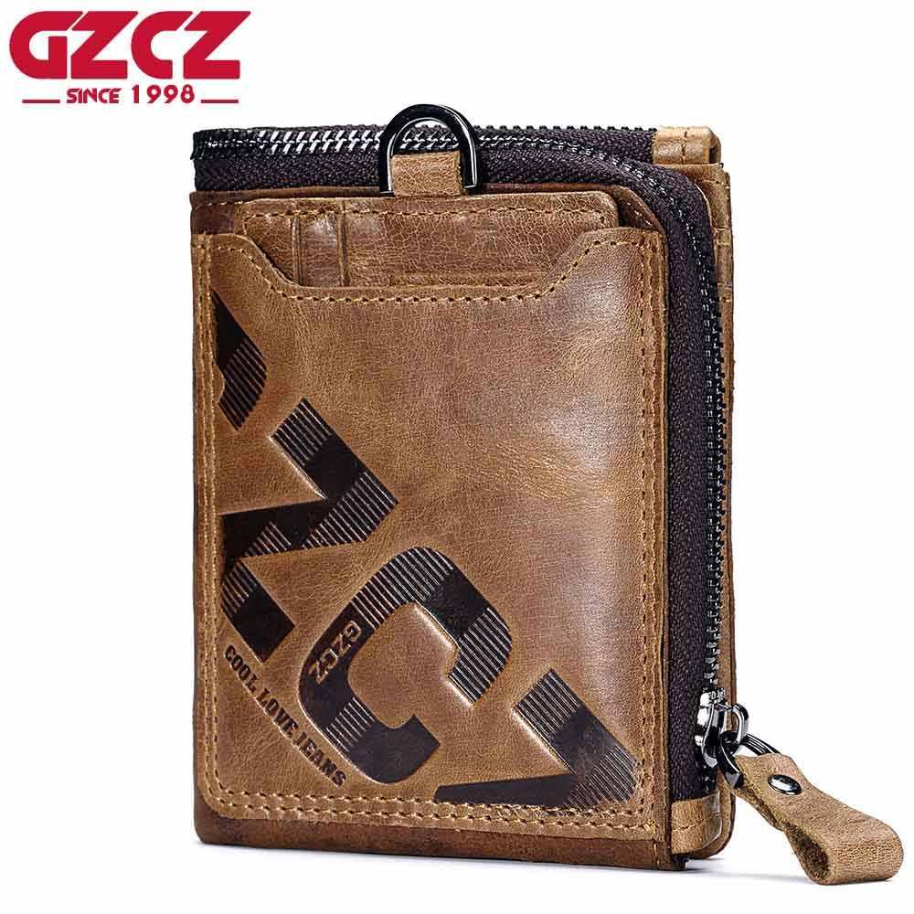 67dddc814b5f GZCZ пояса из натуральной кожи для мужчин кошелек Мода Портмоне держатель  для карт маленький мужской Portomonee