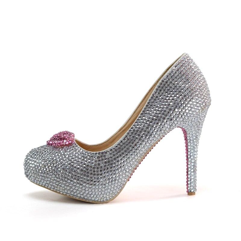 11cm 14cm Main With Cristal forme Mariage Bag Strass Chaussures De Forme silver Rose Sac Plate Bag Assorti Mariée Luxe 8cm Coeur À Silver Bal Avec Argent SRdqxH6H