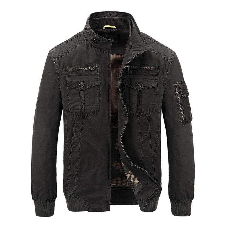 Spring autumn men thin cotton zipper multi pockets stand collar army jacket male cardigan sports coat short windbreakers
