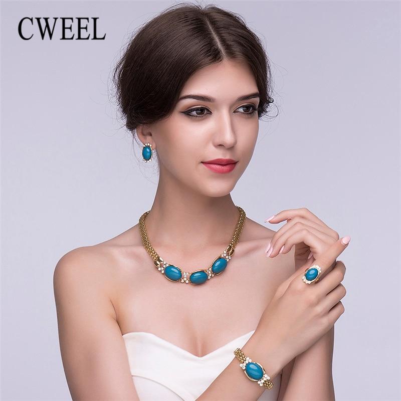 CWEEL Fashion Women Jewelry Sets African Beads Jewelry Set Chain Dubai Turkish Ethiopian ...
