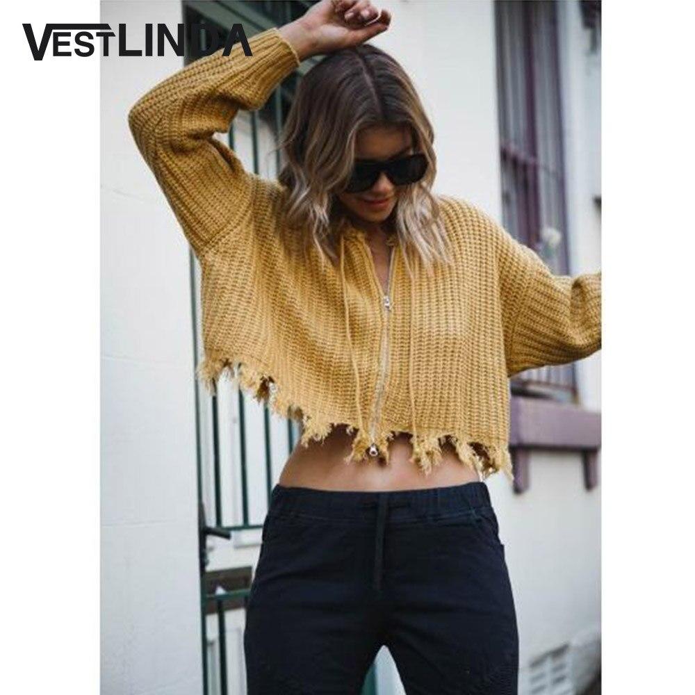 Новые свитера Для женщин 2018 осень низ с бахромой на молнии свитер с капюшоном с приспущенными плечами Повседневное Drawstring укороченные свите...