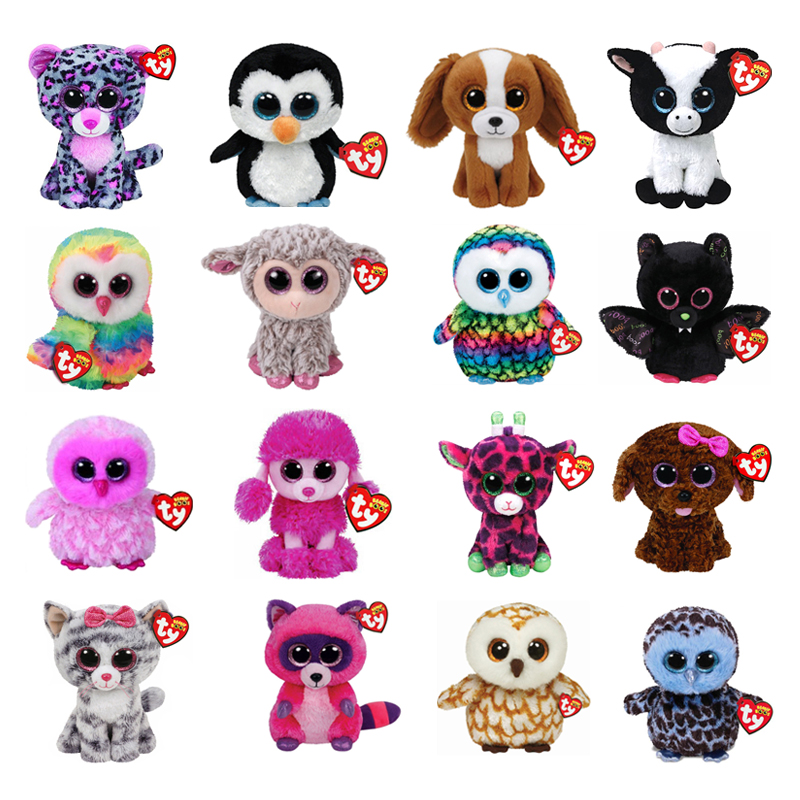 Ty Beanie Plush Animal Doll Unicorn Owl Giraffe Soft Stuffed Toys Penguin Bat Cat Boos Dog 15cm