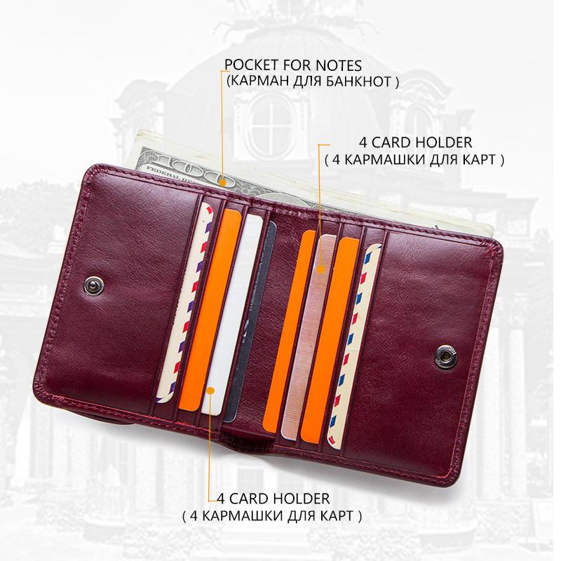 Women's Genuine Leather Wallet Female Small Card Holder Minimalist Womens Wallets Short Purses Key Organizer Mini Passport Cover