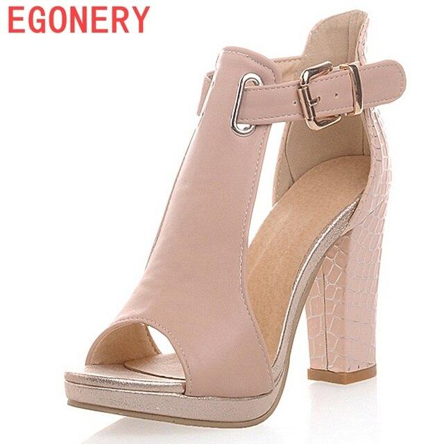 EGONERY 2018 mujeres sandalias moda de verano sexy señoras zapatos de tacón  alto 3 color zapatos 3a56966d08e2