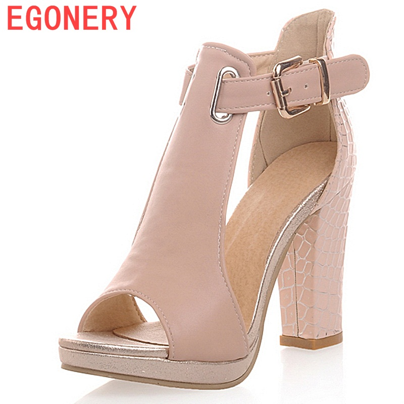 EGONERY ženske 2018 poletne modne sandale seksi peep toe dame visoke pete 3 barve platforme čevlji ženska T-trak čevlji sandali  t