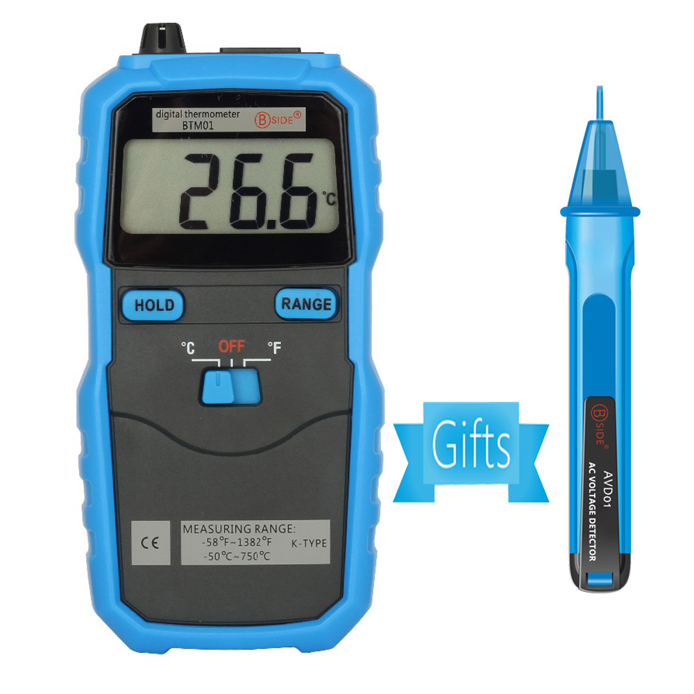 BSIDE BTM01 Digital Thermometer -50~750C/-58~1382F Portable Temperature Meter LCD Display K Type Thermocouple with Data Hold