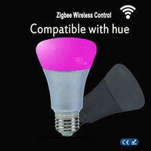 ZigBee Color Lamp wifi or Wireless Remoter Link E27 9W RGBW Smart Bulb Compatible With Hue bridge 1.0 and 2.0 Control By Hue App