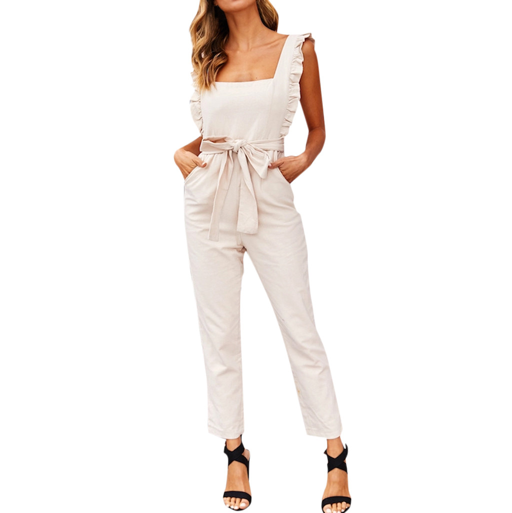 Womail Women 2019 Sexy Linen Shirred Frill Sleeves Pocket   Jumpsuit   Ladie Belte Summer Holiday Party Khaki belt   Jumpsuit   W30425