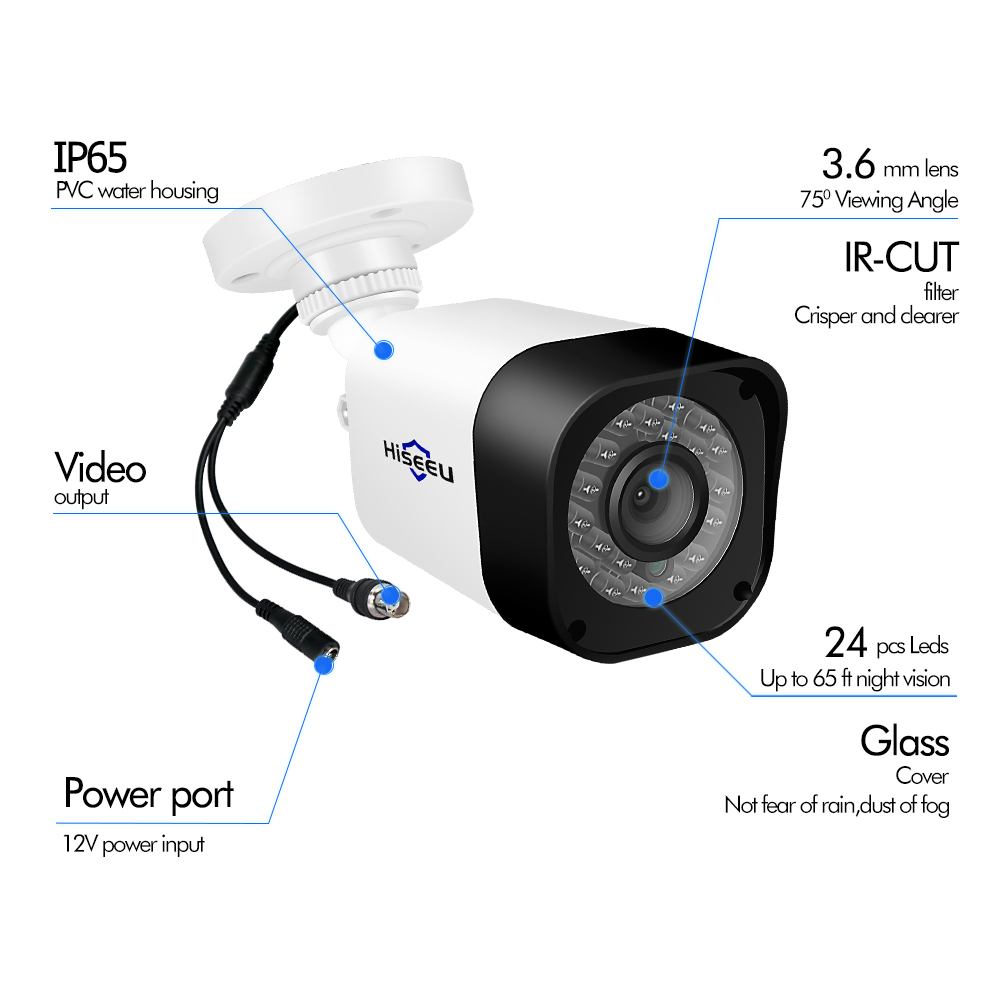Hiseeu 4CH AHD CCTV Camera System 1.0MP 2MP IR Night Vision Indoor Outdoor Camera Home Security Video Surveillance system Kit