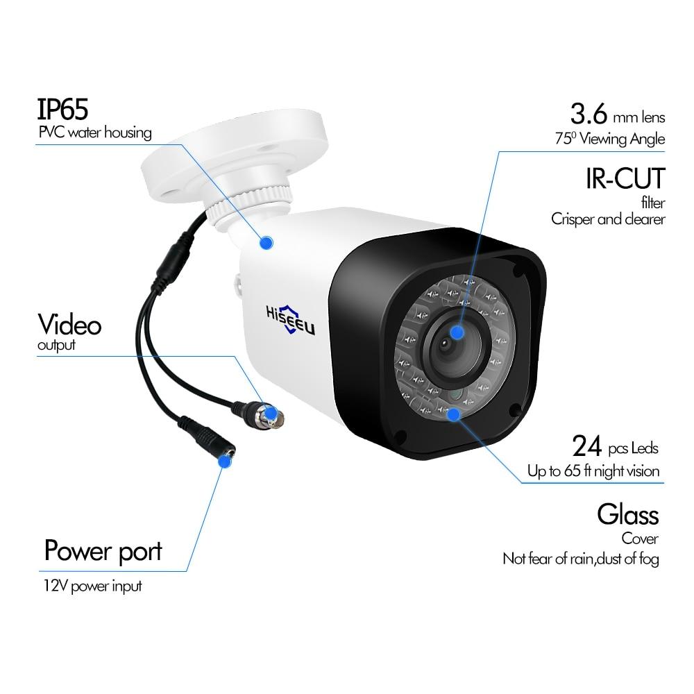 Système de caméra de vidéosurveillance Hiseeu 4CH AHD 1.0MP 2MP IR Vision nocturne caméra intérieure extérieure Kit de système de Surveillance vidéo de sécurité à domicile - 5