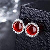 TYME trang sức thời trang Trắng Đồng stud earring Tremella nail nữ đơn giản chalcedony xanh đồ trang sức VAE01