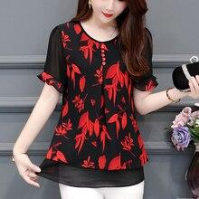 plus size 4XL Chiffon New Women Top Chiffon Short Sleeve Blouses Top Summer o-neck floral Print Lace Feminine tops blusas 601i3