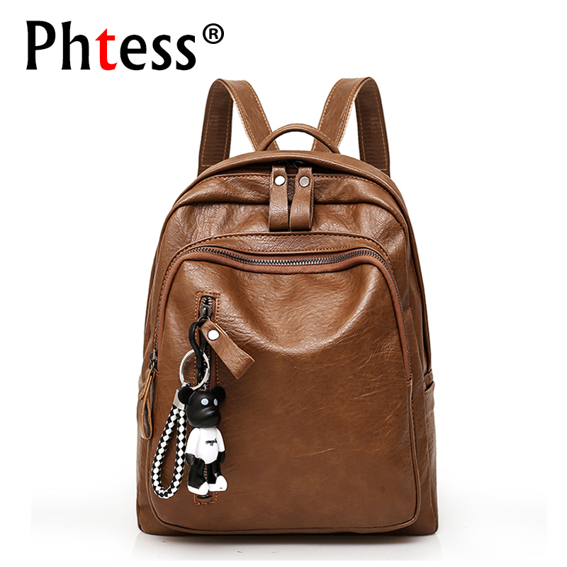 купить 2018 Women Leather Backpacks For Teenage Girls Sac a Dos Female Vintage Ladies Bagpack Brown Student Preppy Backpack Mochilas по цене 1142.16 рублей