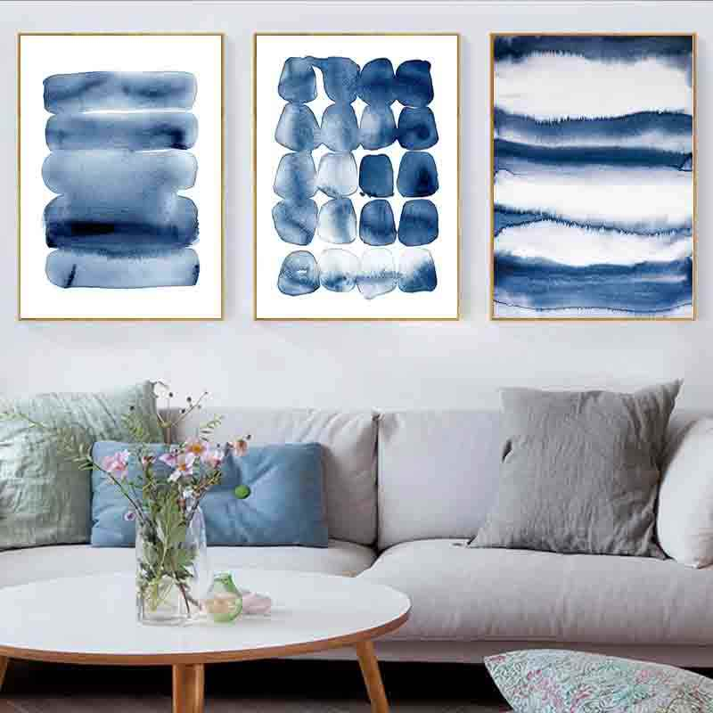 Navy Blue Abstract Posters and Prints Watercolour Canvas ...