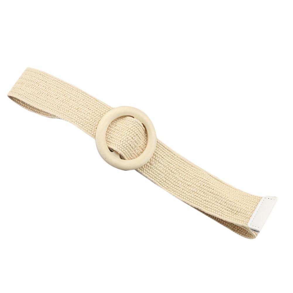 Винтажный плетеный пояс в стиле бохо, летний Однотонный женский ремень, Круглый Деревянный гладкий ремень с пряжкой, поддельные соломенные широкие ремни для женщин, Лидер продаж - Цвет: Белый