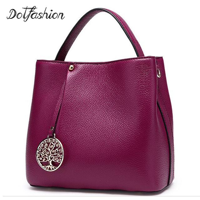 Genuine Real Cow Leather Female Handbags Women Shoulder Bags Purple Lady  Small Tote Bag Red Logo c797d484a0fcf