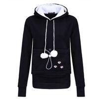 2018 new cat foot print, cat ear cap, cat dog bag sweatshirt solid color animal print fashion casual warm hoodies