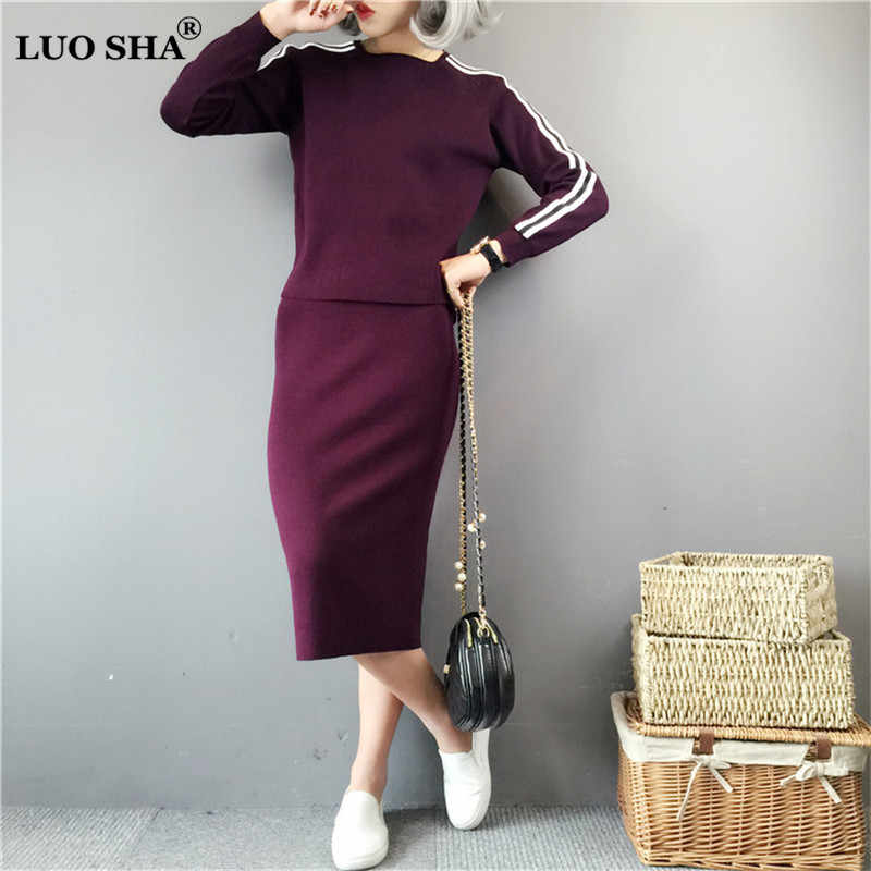 LUO SHA Two Piece Set Womens Sweat Suits Woman Suit Female Cashmere Sweater Striped Top and Skirt Set Suit for Women Costume